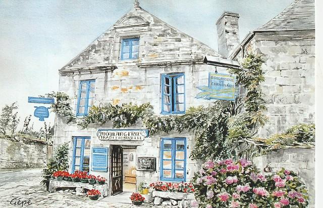 Boulangerie, Locronan, Finistère – aquarelle de Gépé