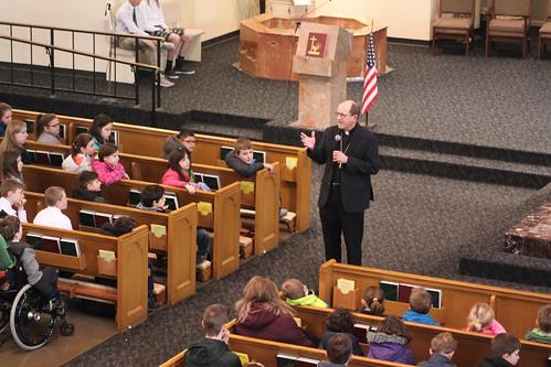 Bishop Walkowiak visits Saint Thomas the Apostle Catholic School