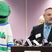 Vail and Pucky the Whale at the Whalers' License Plate press conference.