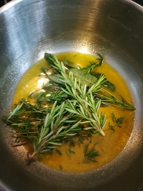 Butter and herbs, for roasting potatoes