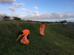 Maui Electric's Adopt-a-Highway Clean-up - February 10, 2018: Working together to clean-up.