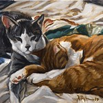 Cats on Bed; oil on canvas, 16 x 20 in, 2017
