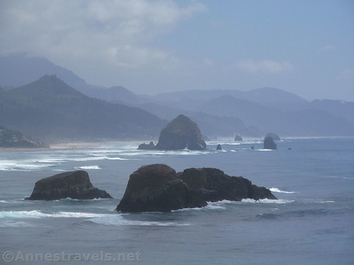Zoomed picture toward Haystack Rock and Cannon Beach, Ecola State Park, Oregon