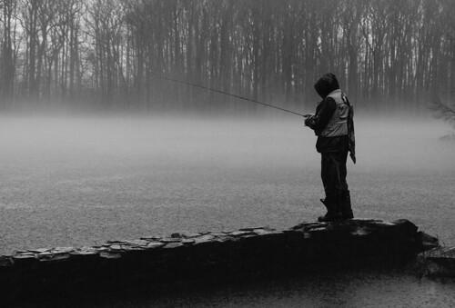nj davidsonsmillpondpark bw water fishing rain landscape fisherman northbrunswicktownship newjersey unitedstates us dusk night