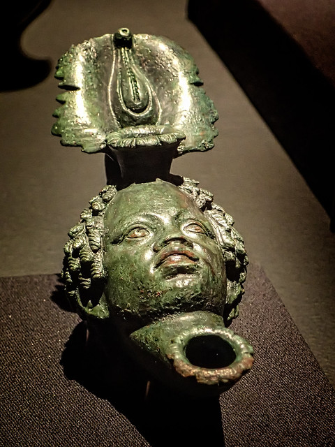 Bronze lamp in the shape of a Nubian head Pompeii Roman 1st century CE