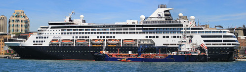 MS Maasdam of Holland America Line & bunkering tanker 'ICS Allegiance' & Port Authority vessel 'Millers Point' (Photoshop photomerger of three images, not good one though)