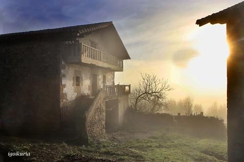 El sol entre la niebla