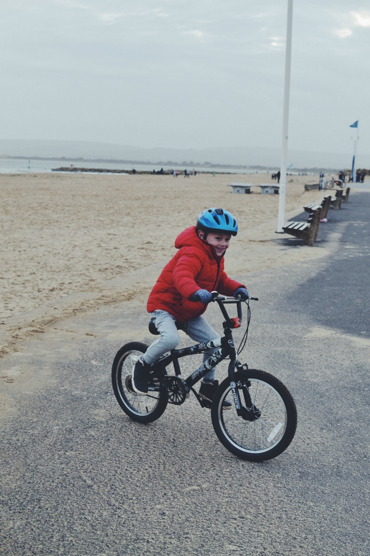 bike on the beach with M