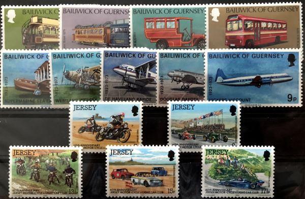 Známky Transport, 3 nerazené série Guernsey a Jersey