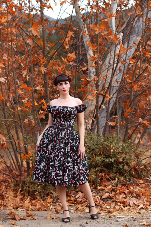 Hearts and Found Loretta Dress Black Crimson and Clover Small Florals