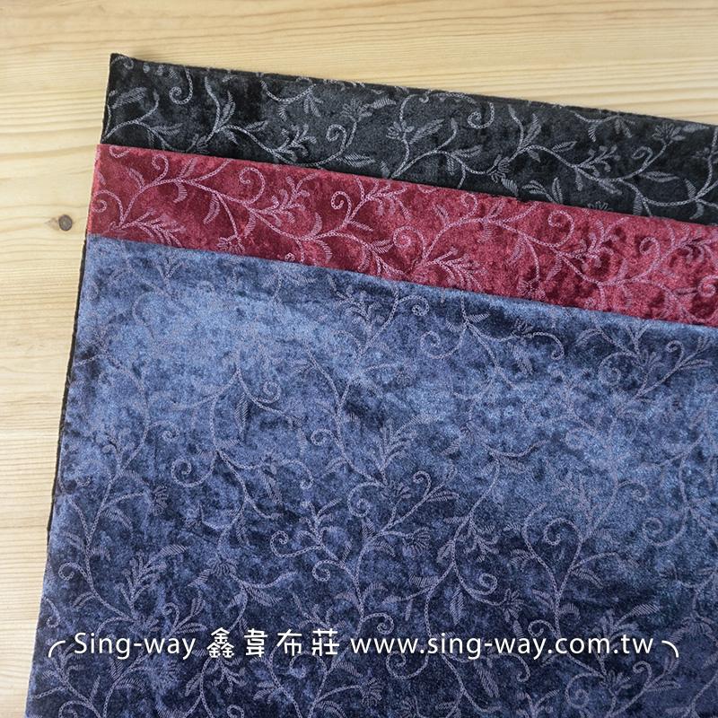 條紋花 雅緻花卉 毛絨面 冬季針織彈性布料 LB690199