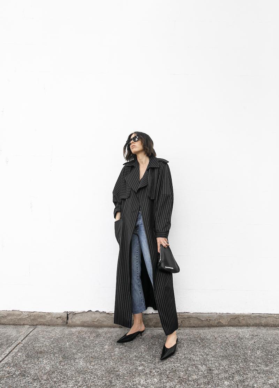 minimal street style fashion blogger striped trench coat vintage denim Balenciaga knife mules triangle clutch Instagram (8 of 11)