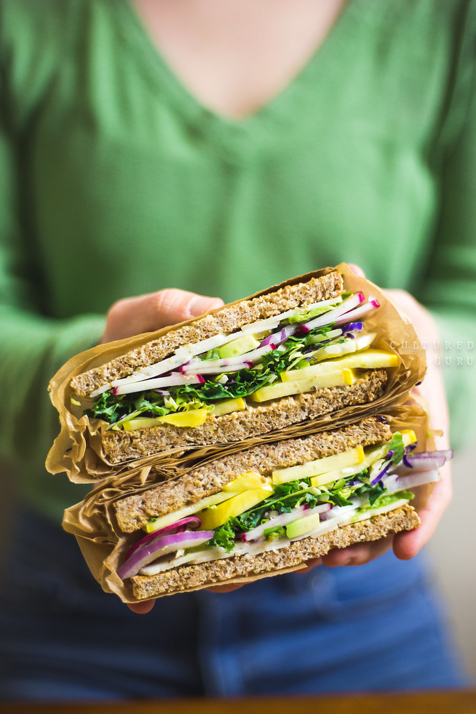 Vegan Sandwich Recipe Vegetable Sandwich with Probiotic Fermented Dill Pickles