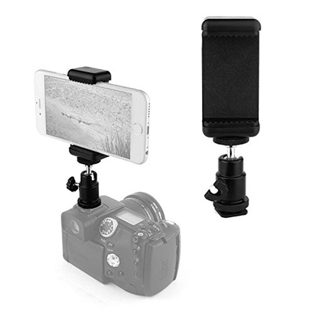 Bộ ball head xoay 360 độ gắn chân flash và kẹp điện thoại 2 ốc gắn lên máy ảnh DSLR, Mirrorless