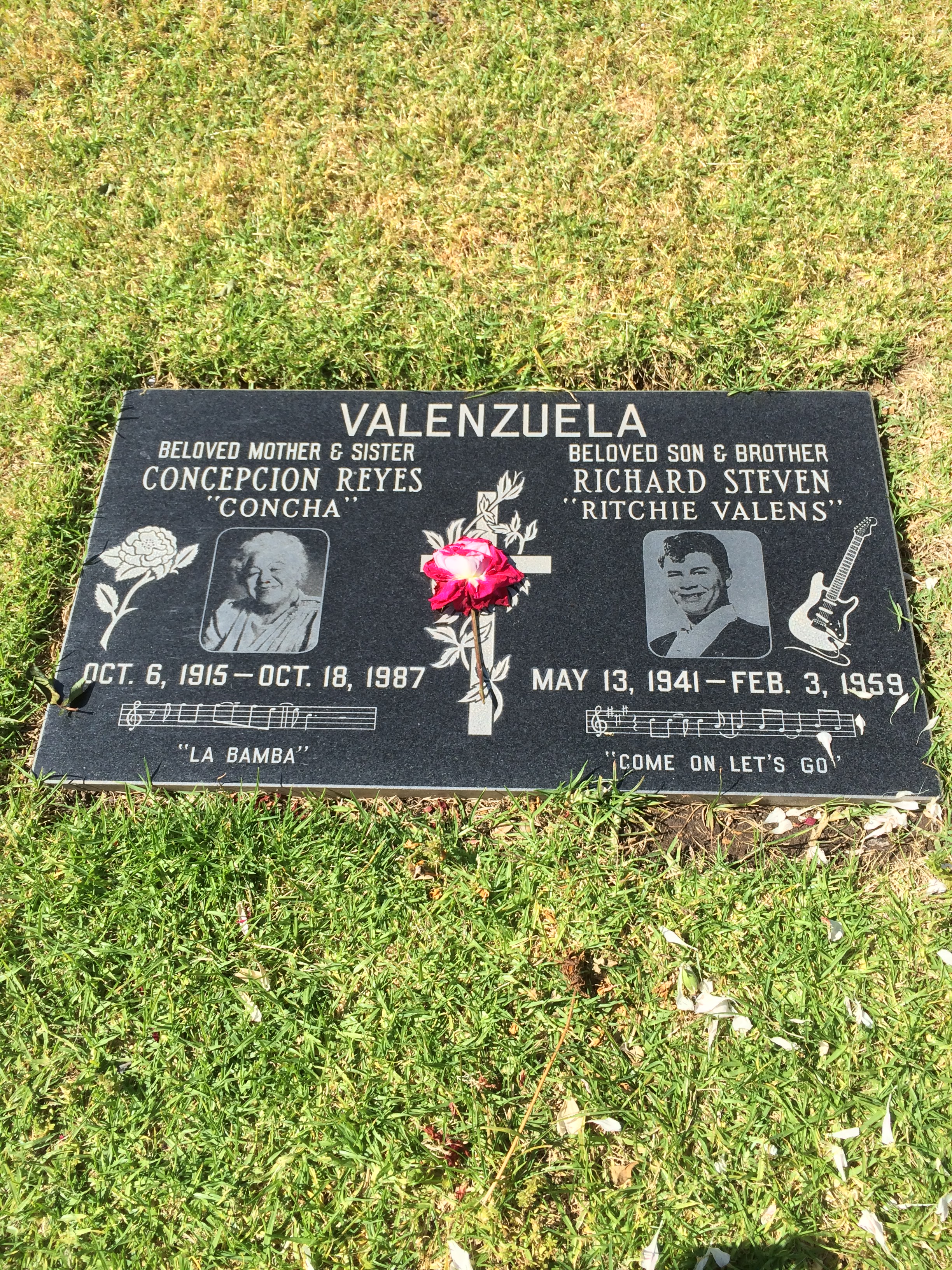 Grave of Ritchie Valens at San Fernando Mission Cemetery. Valens' mother, Concepcion, who died in 1987, is buried alongside him.