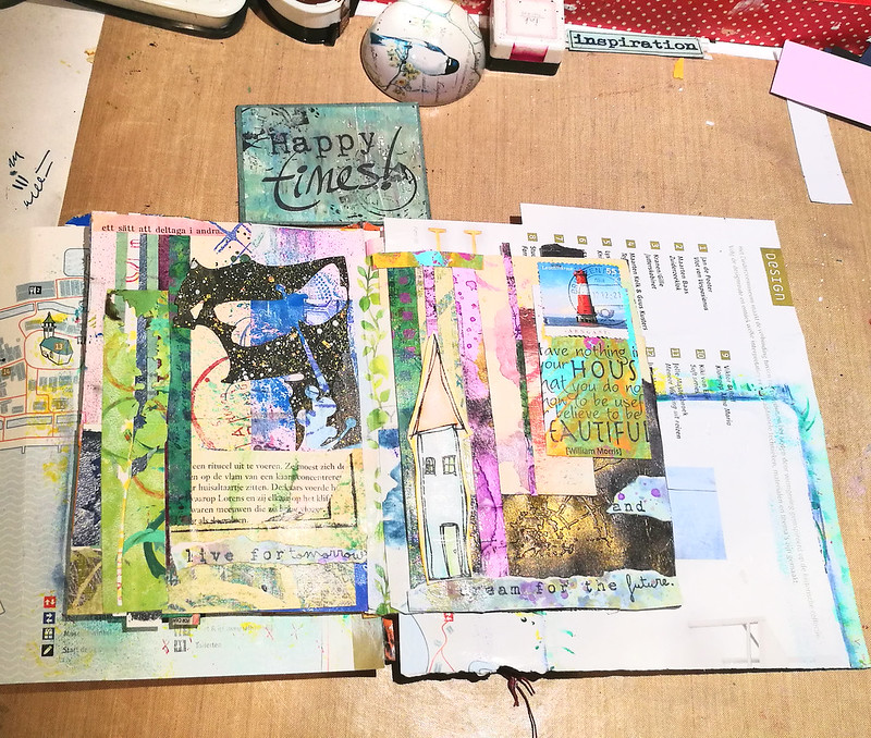 WIP junk mail art journal