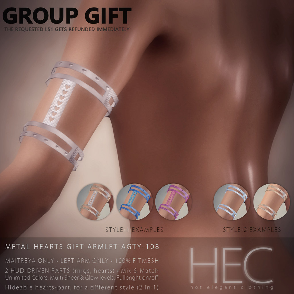 HEC (nessmarket.com GROUP GIFT) • METAL HEARTS GIFT ARMLET AFTY-108