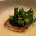 """Catch, burnt eggplant purée, """"chileatole"""" por Travel Musings"""