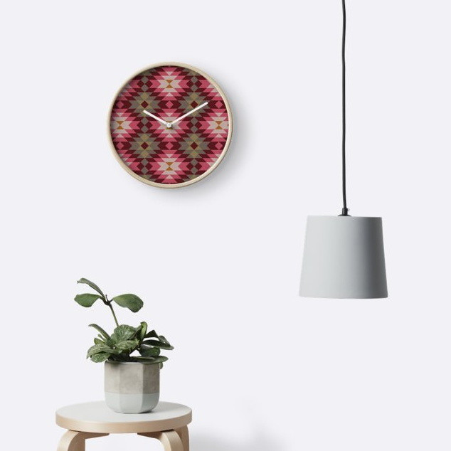 Ethnic geometric ornament. Kilim, Turkish, Aztec woven rug Clocks