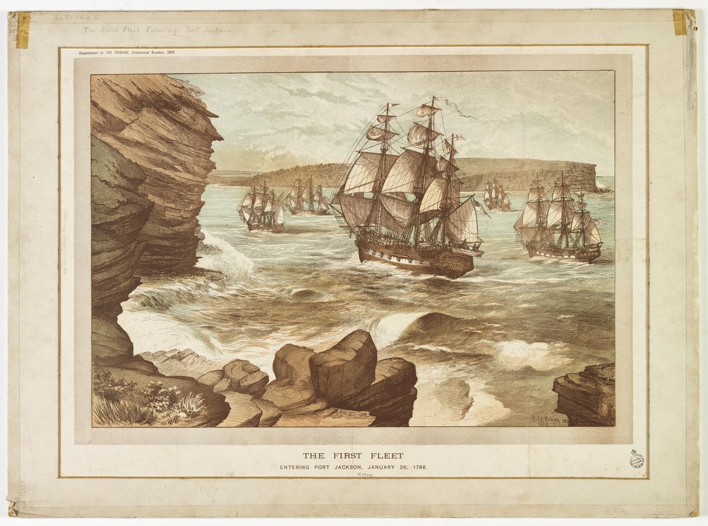 The First Fleet entering Port Jackson, January 26, 1788, drawn 1888.