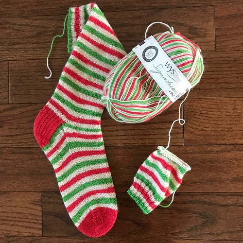 Sue2Knits Candy Cane Socks WIP (January 26, 2018)