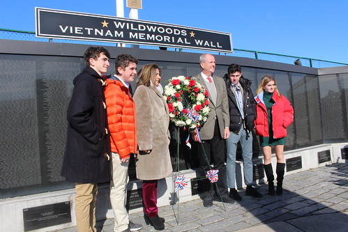 Gov.-elect Phil Murphy and family pose in front of the Wildwood Vietnam Veteran Wall Jan. 14