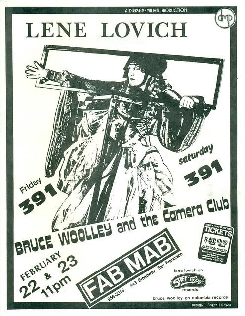 LENA LOVICH, 391, BRUCE WOOLEY and the Camera Club AT THE MABUHAY GARDENS, SAN FRANCISCO, CA 1980