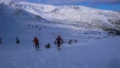 Za punktem kontrolnym (Pylec). Widok na Kotły Dzembronia, wysokość 1600m. Dzień 2. zawody.