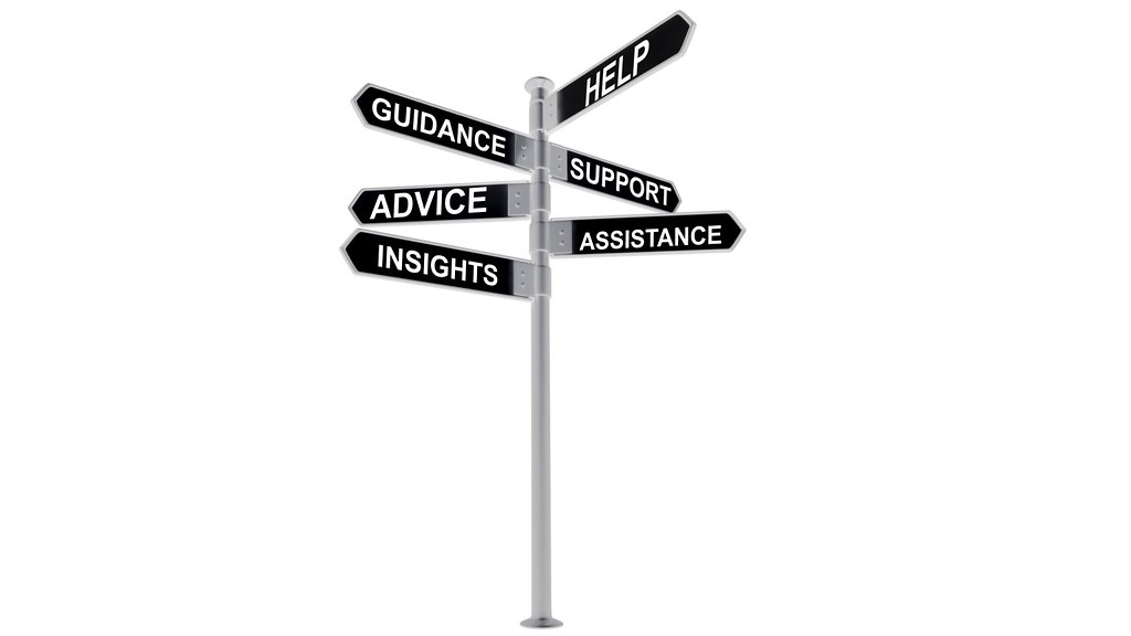 Signpost showing signs to help, guidance, support, advice, assistance and insight