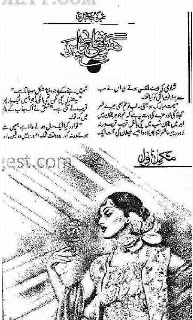 Ghar Titli Ka Par is a very well written complex script novel by Samra Bukhari which depicts normal emotions and behaviour of human like love hate greed power and fear , Samra Bukhari is a very famous and popular specialy among female readers