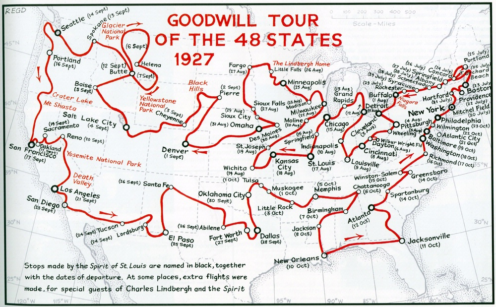 Map showing Charles Lindbergh's route as he flew the Sprit of St. Louis on a goodwill tour of the 48 states of the United States between July 20 and October 23, 1927.