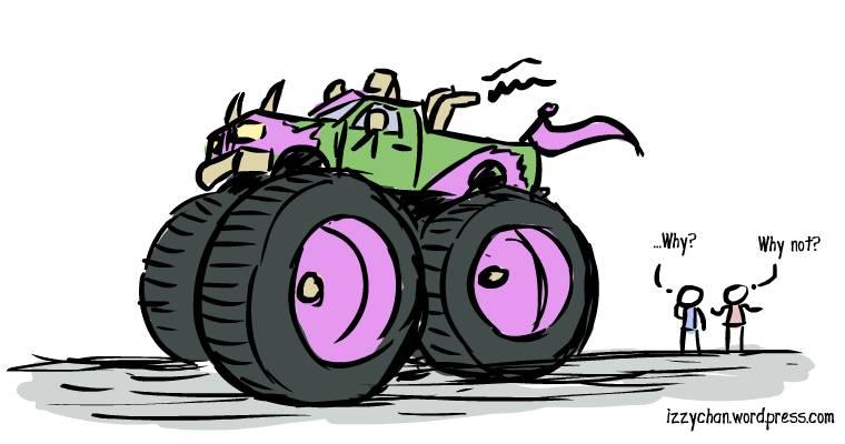 purple and green monster truck huge wheels