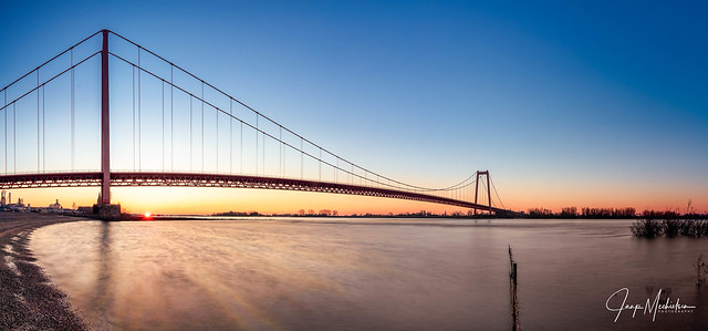Sunrise Emmerich Rhine bridge