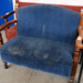 Blue fabric bench E155