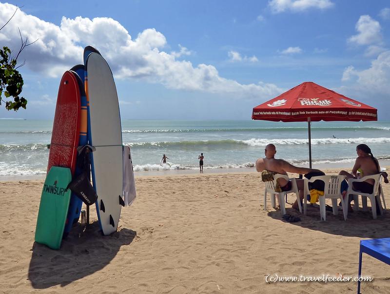 Kuta Beach and surfboards in Bali