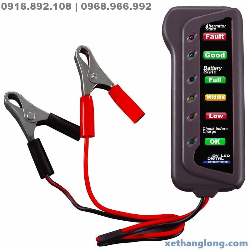 Đồng hồ đo, kiểm tra bình ắc quy 12V, 6 led trạng thái