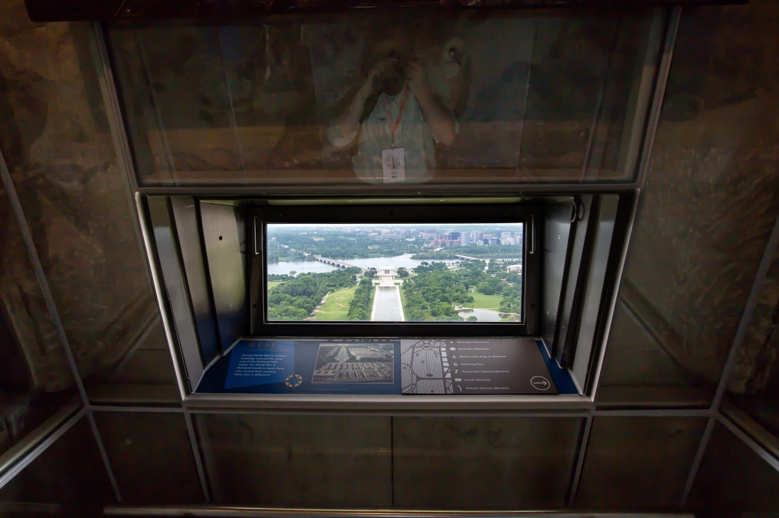 The Lincoln Memorial as seen from the observation level of the Washington Monument.