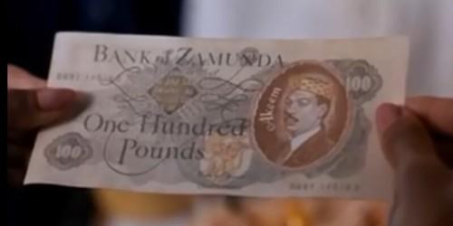 Bank of Zamuda 100 Pounds movie money