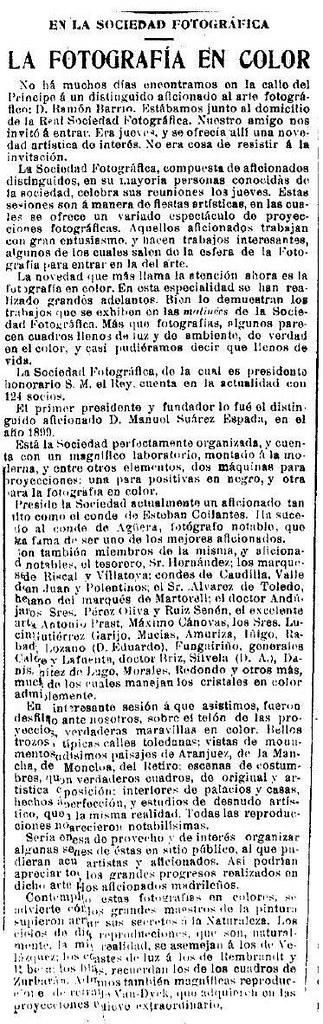 """Artículo firmado por """"Mascarilla"""" el 13 de abril de 1912 en La Época que habla de los avances de la fotografía en color y de cómo los miembros de la Real Sociedad Fotográfica de MAdrid estaban ensayando con ella"""