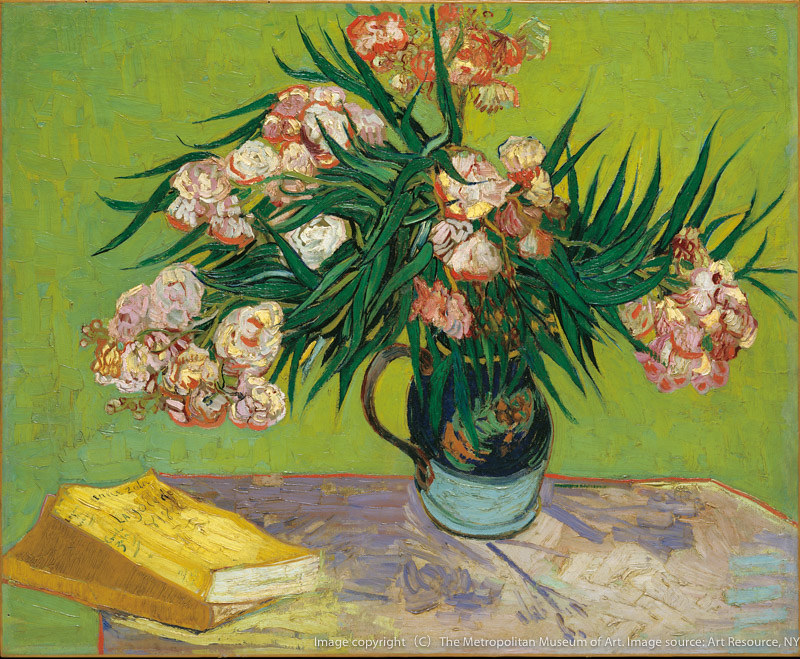 《夾竹桃と本のある静物》(1888年、メトロポリタン美術館[ジョン・L・ローブ夫妻寄贈] 蔵)