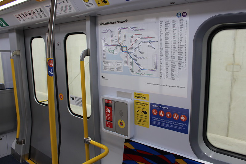New metro trains: doorway, signage and map