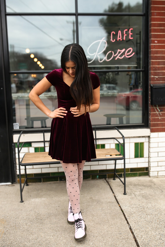 Priya the Blog, Nashville fashion blog, Your 90's Valentine, Cafe Roze, Nashville style, Valentine's Day inspired outfit, Valentine outfit with Pink Dr. Martens, Pink Dr. Martens, girly Dr. Martens, Valentine outfit inspo, 90's inspired, 90's inspired Valentine's Day outfit, heart print tights outfit