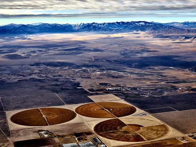 Crops against the terrain of Utah