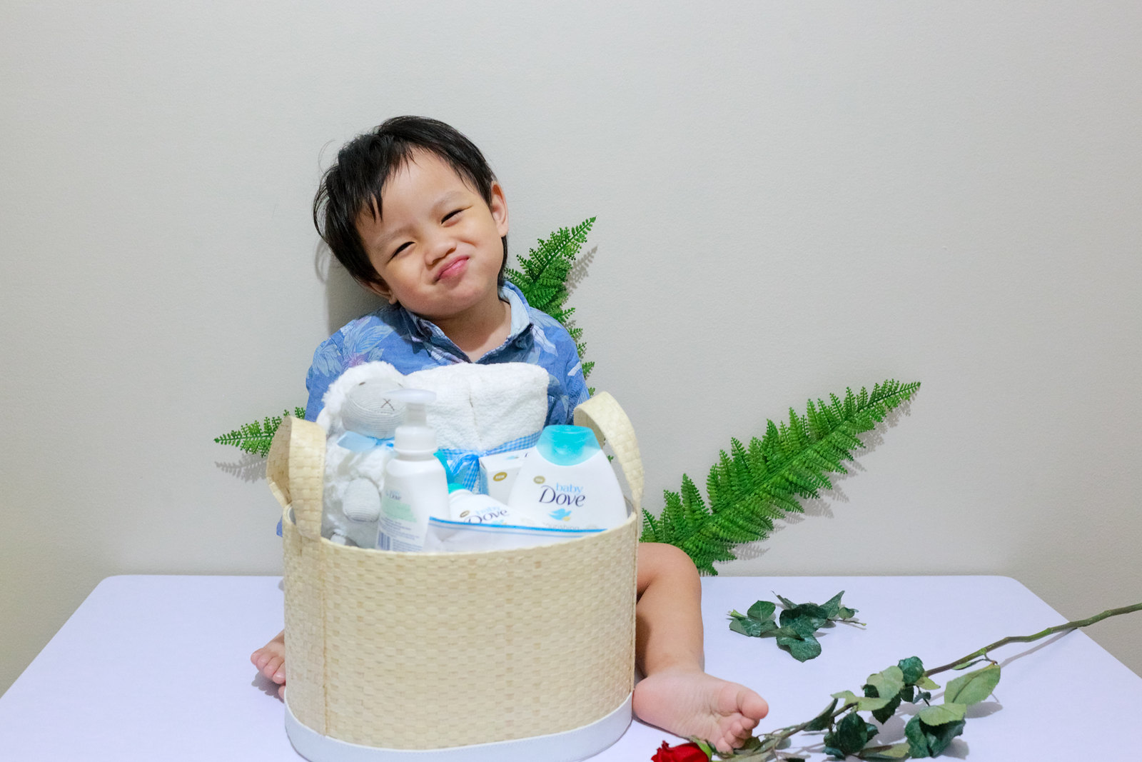 #LittleAdamBryce is happy to receive this Baby Dove basket of goodies