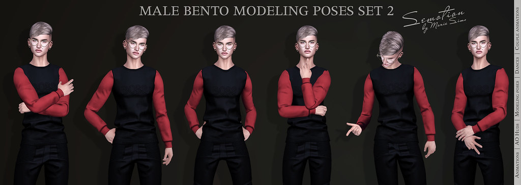 SEmotion Male Bento Modeling Poses Set 02 - 10 modeling poses - TeleportHub.com Live!