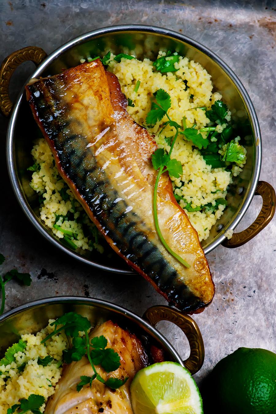 Grilled mackerel with harissa , coriander couscous