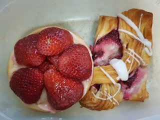 Strawberry Flan and Raspberry Danish from Flour of Life at Brisbane Vegan Markets