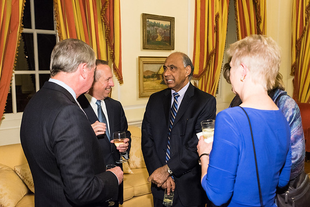 Richard and Anne Rodgers, Tom O'Coin, Frank Islam and Debbie Driesman - 2017 Tribute Dinner at the Residence of the British Ambassador