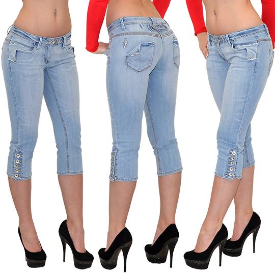 Damen Capri Hose Caprihose Jeans Caprijeans Bermuda Jeanshose bis Übergröße H11