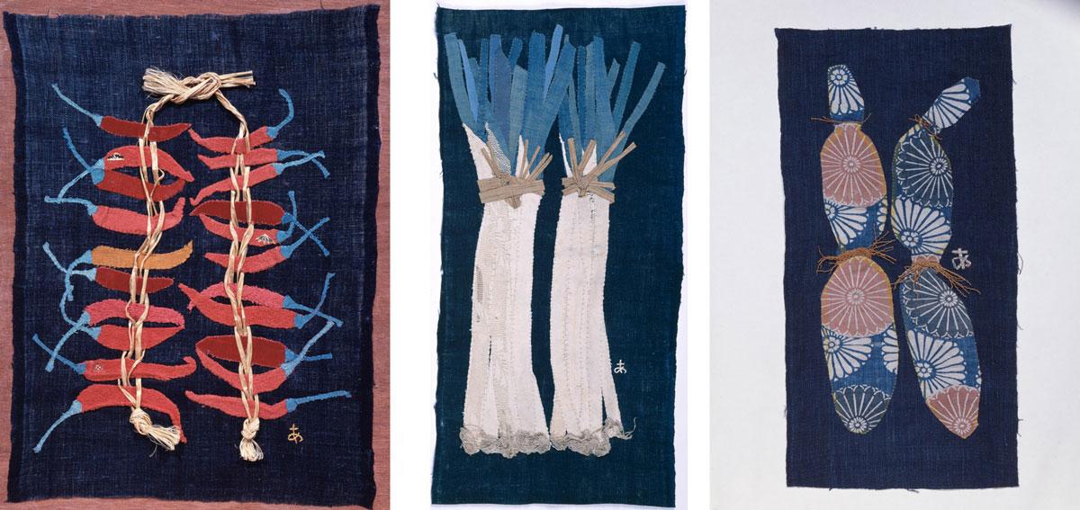 左)《吊った唐辛子》(1963年、豊田市美術館蔵) 中)《ねぎ》(1966年、個人蔵) 右)《れんこん》(1974年、個人蔵)